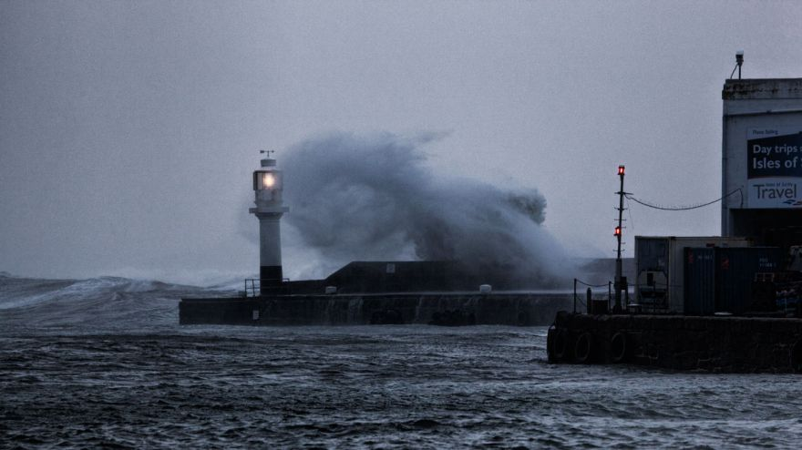 Penzance Lighthouse during storm