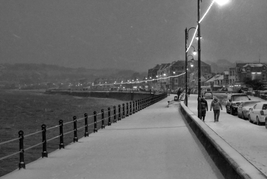 Penzance Promenade Snow Scene