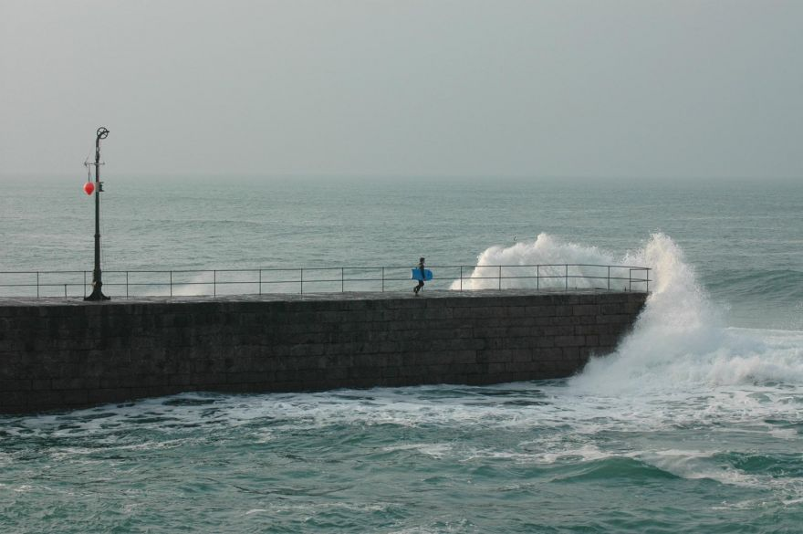 Getting in the quick way at Porthleven