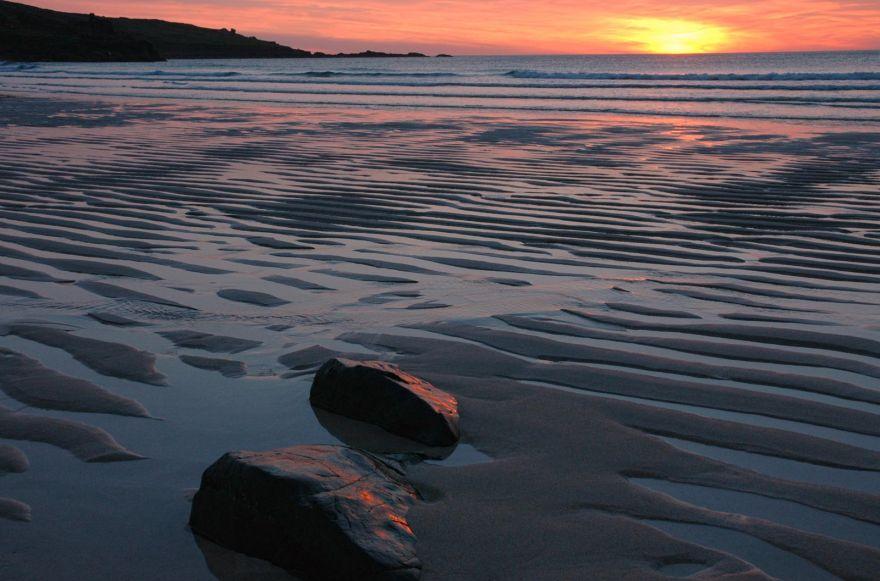 Rocks on Beach at Porthmeor - Sunset