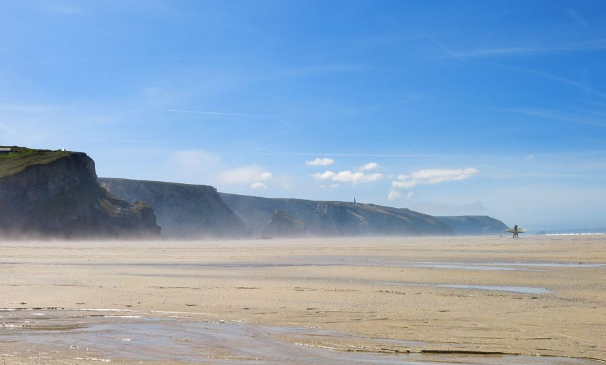 Porthtowan beach low tide cliffs