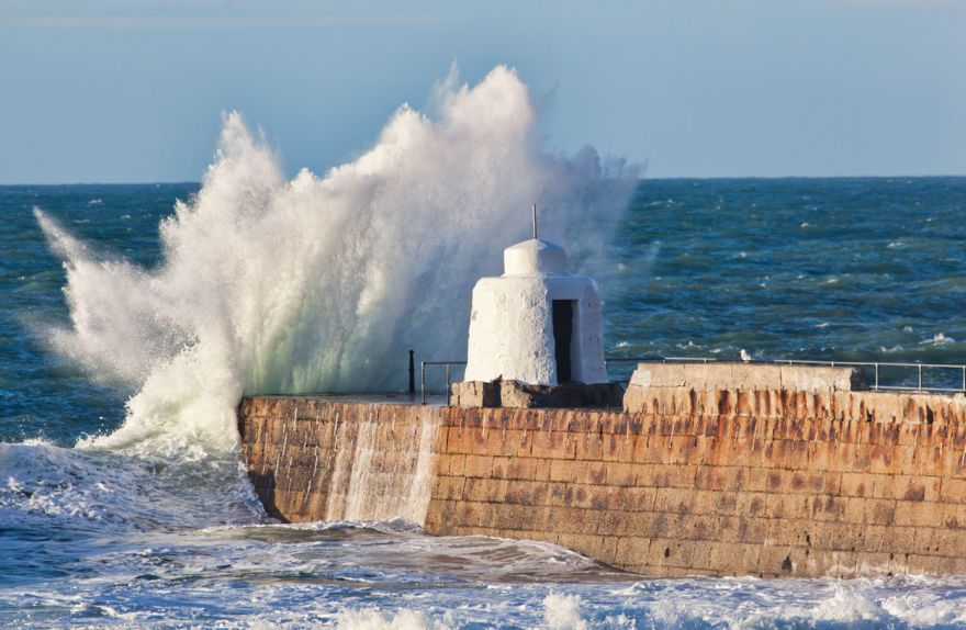Splash over Portreath Pier