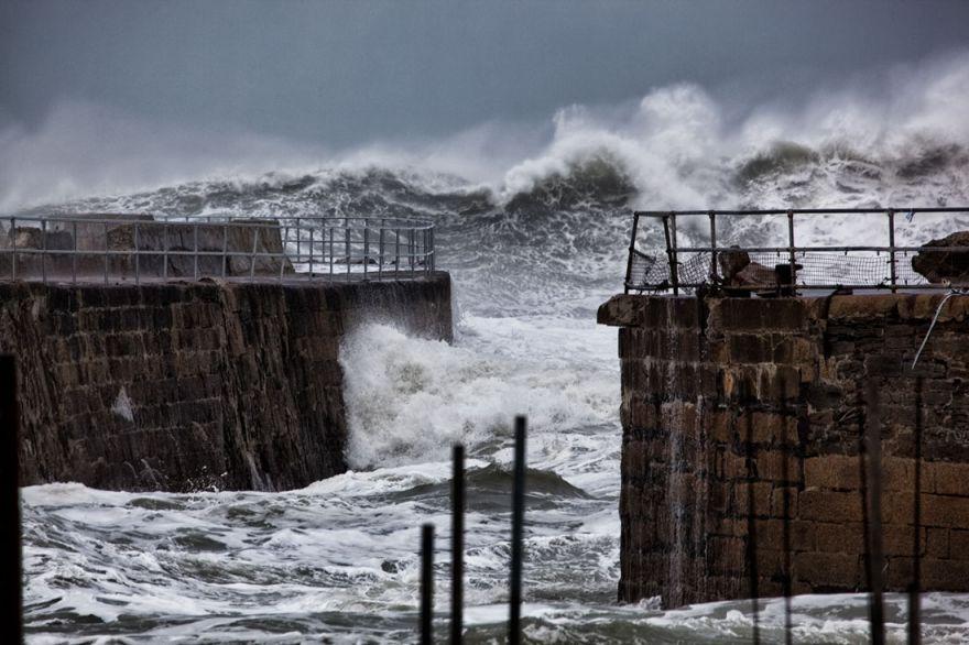 Huge seas outside Portreath Harbour