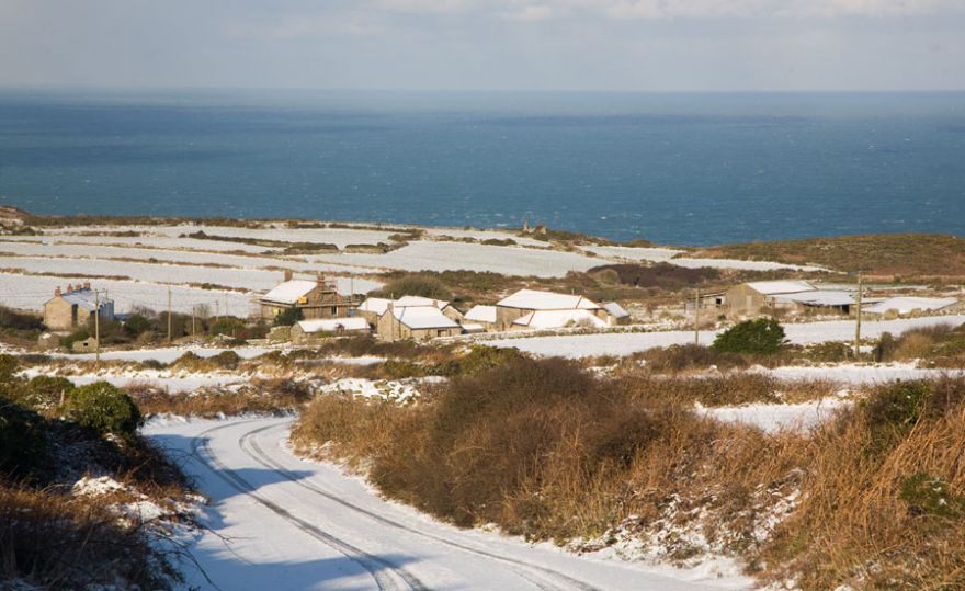 West Penwith coast in the Snow