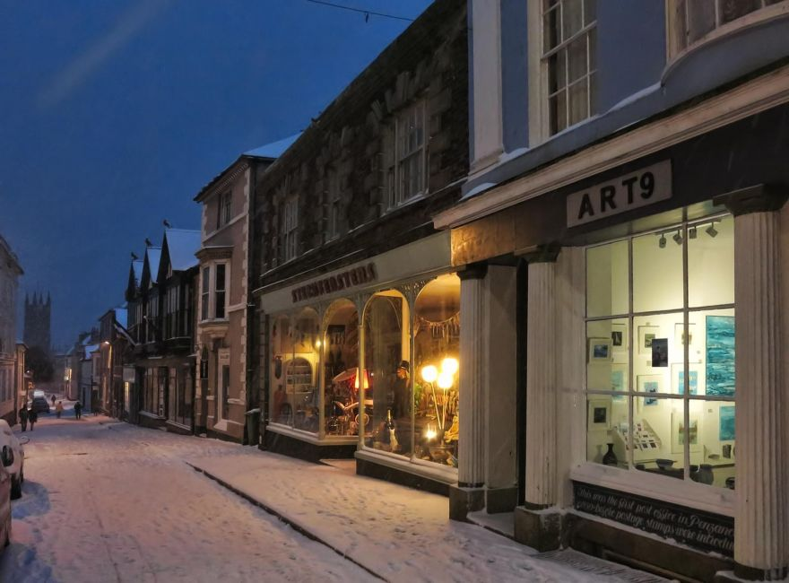 Chapel Street, Penzance in the Snow