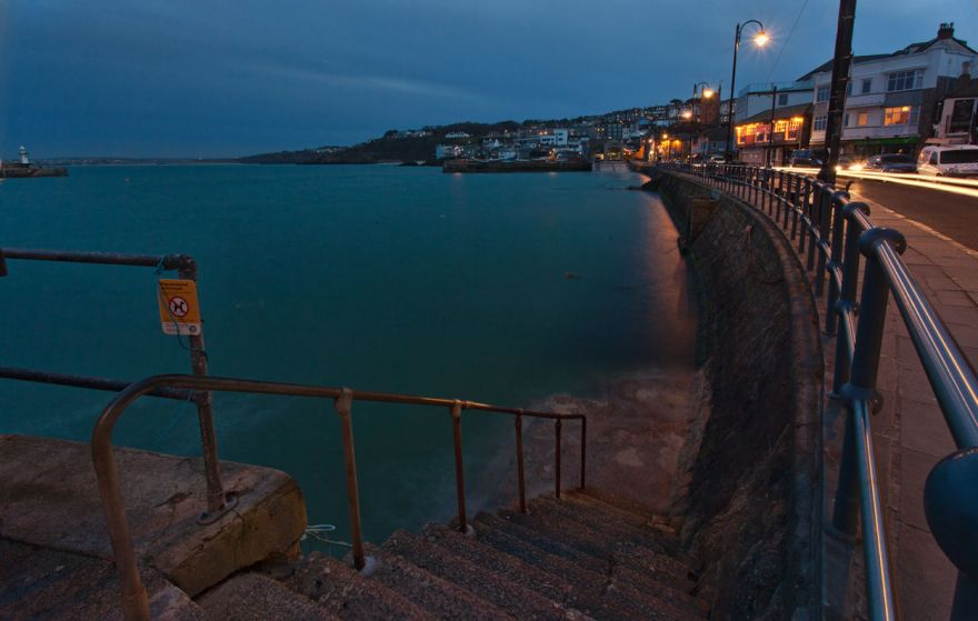 St Ives Harbour front by night