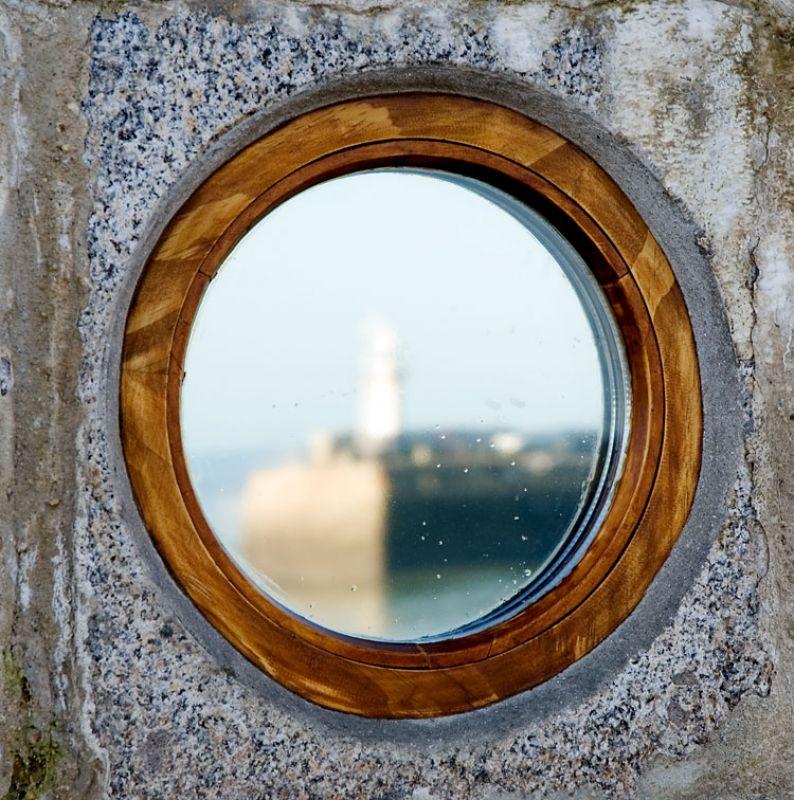 St Ives porthole reflection