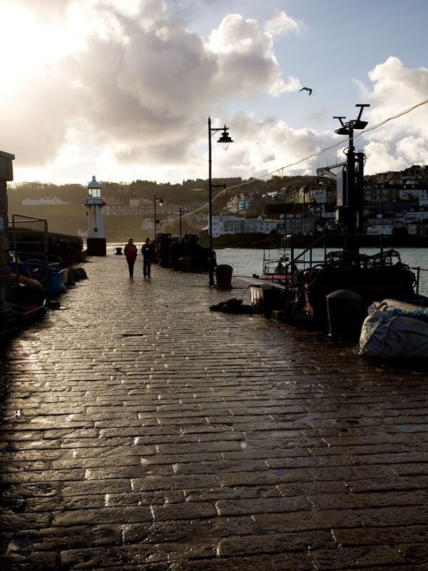 Walking on Smeaton's Pier - St Ives
