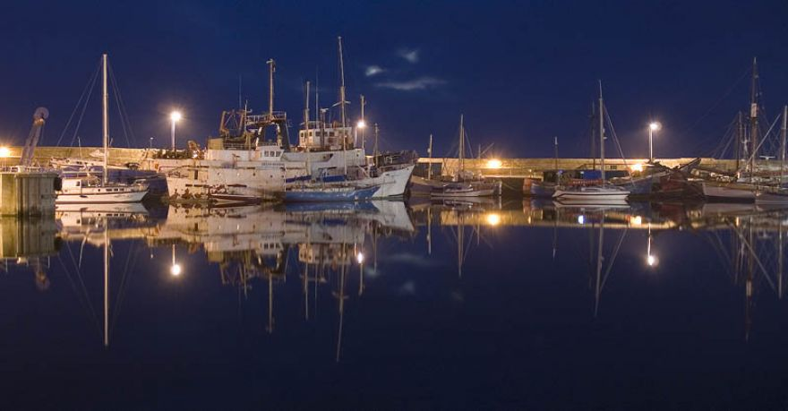 Penzance wet dock moonlight