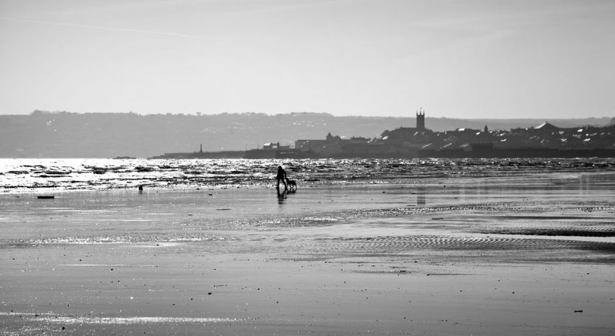 Winter beach walker