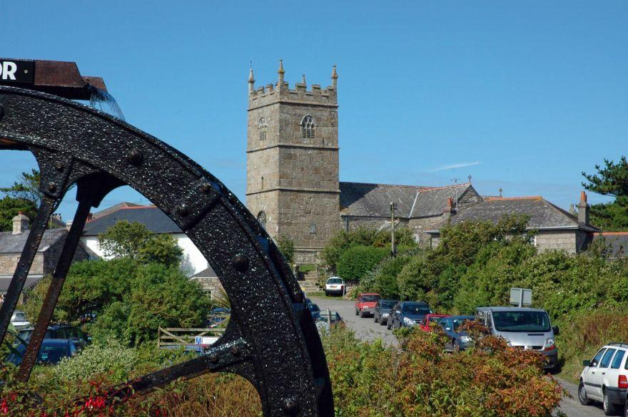 Zennor Church and Water Wheel